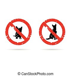dog silhouette sign set in red color illustration