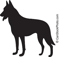 Dog silhouette isolated on white background. Vector