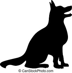 Simple happy vector dog silhouette, sharp clean lines, sitting, looking up.