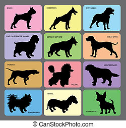 Dog Silhouettes 1 - Dog in black shadow and its name with...