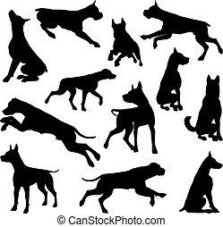 Dog Silhouettes Animal Set - A set of detailed animal...