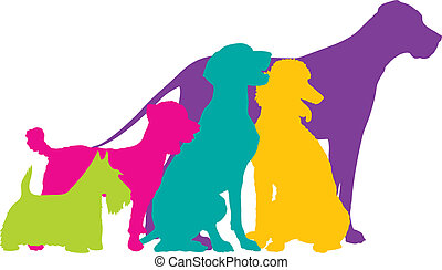Dog Silhouettes Colour - A group of five dogs, a Scottie,...