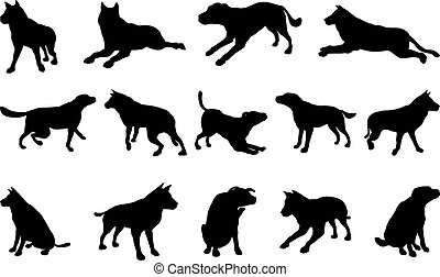 Dog Silhouettes - A set of pet dog silhouettes including the...