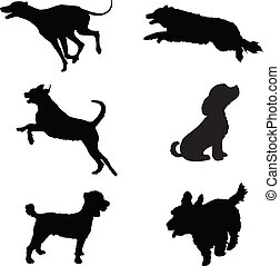 Six black silhouettes of dogs at play