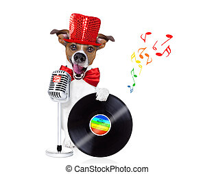 dog singing with microphone
