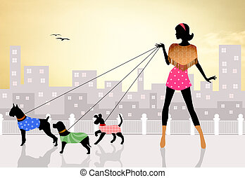 Dog sitter - illustration of dog sitter