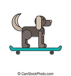 Dog sitting on a skateboard