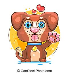 Dog sitting Ready For Your Design, Greeting Card, Banner. Vector