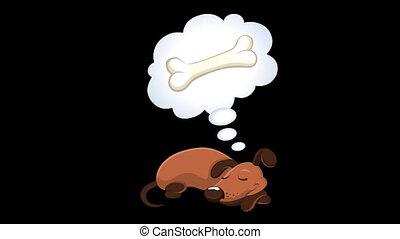 Dog sleeping - Cartoon dog sleeping and dreaming of a bone. ...
