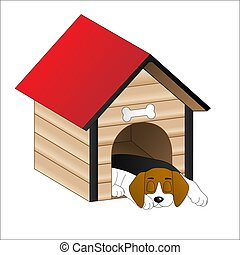 Dog sleeping in a dog house