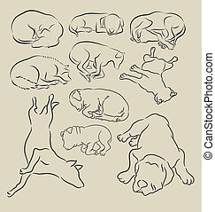 Dog Sleeping Sketches - 10 sketch of dog sleeping vector....