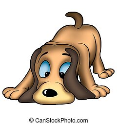 Dog sniffing - High detailed and coloured illustration