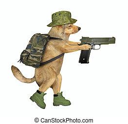 Dog soldier holds a gun