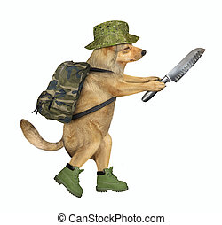 Dog soldier holds a knife