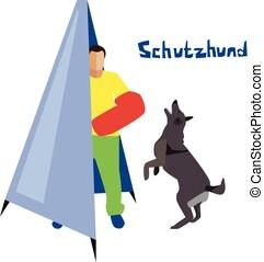 Dog sport flat vector illustration.