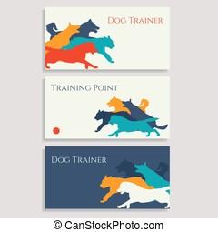 Dog sport leaflets. Trainer business cards.