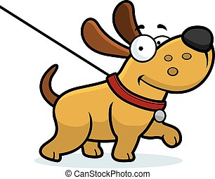 dog, spotprent, wandeling