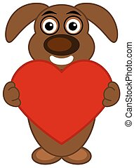 dog standing front holding a heart