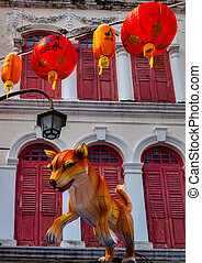 Dog statues in Chinatown Singapore