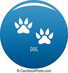 Dog step icon blue vector