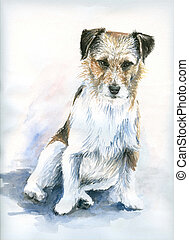 Dog - Watercolors painted portrait of jack russell terrier.