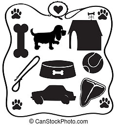 Assoted silhouettes of the things dogs love - a bone, food, steak, cars etc