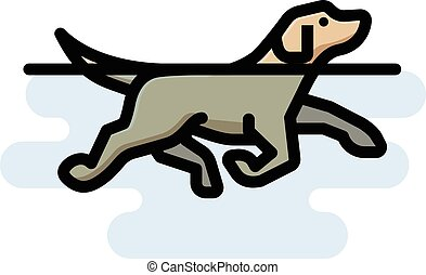 Dog Swimming - A spot illustration of a yellow Labrador...