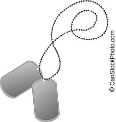 Dog tag - We see two vector dog tags on a chain.