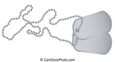 Dog Tags - Aset of military dog tags with chain.