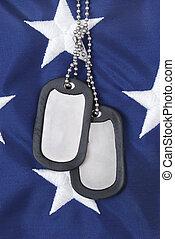 Dog Tags - dog tags and american flag