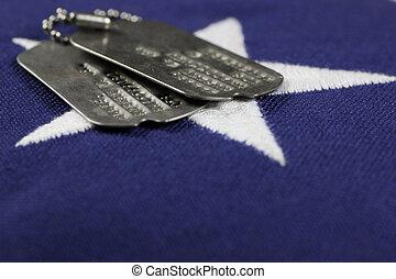 Dog Tags on flag - military id tags on United States,...