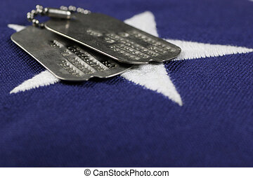 Dog Tags on flag - military id tags on United States,...