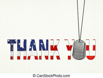 dog tags with flag thank you