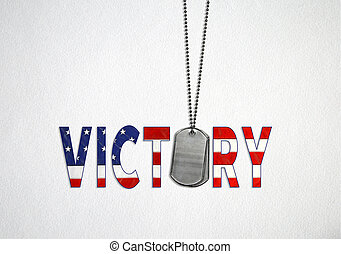 dog tags with flag victory text