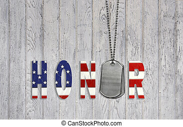 dog tags with honor - Military dog tags with honor in star...