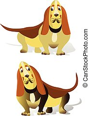 Dog taxi cabs, cartoon on white background,