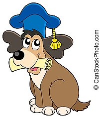 Dog teacher in hat - isolated illustration.
