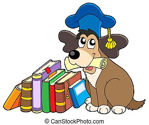 Dog teacher with books - isolated illustration.