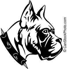 Dog - The vector black white image of dog of breed boxer