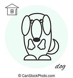 dog thin line icon
