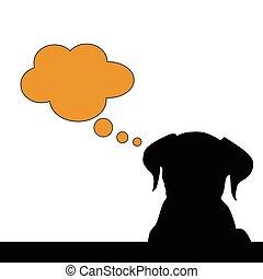 dog think vector silhouette illustration