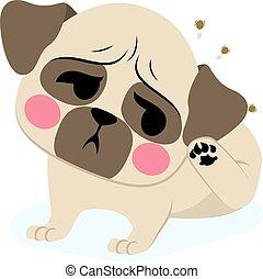 Dog Tick - Sweet puppy dog French bulldog with tick...