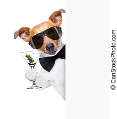 dog toasting with a cocktail