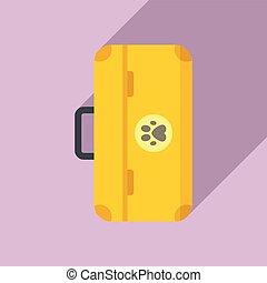 Dog tool box icon, flat style