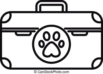 Dog tool box icon, outline style
