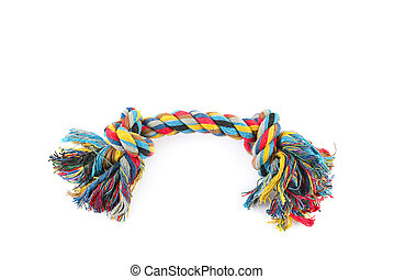 Dog toy - colorful cotton rope isolated on white background .
