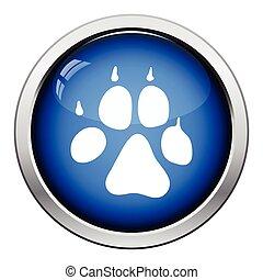 Dog trail icon. Glossy button design. Vector illustration.