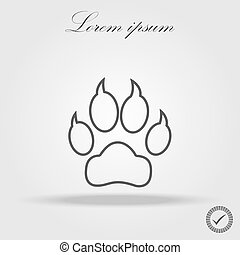 dog trail linear icon. Thin line design. Paw Prints. Logo.
