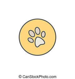 Dog trail or paw print colorful icon