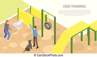 Dog training concept banner, isometric style